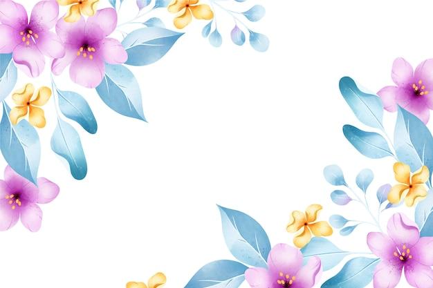 パステルカラーの背景水彩画の花
