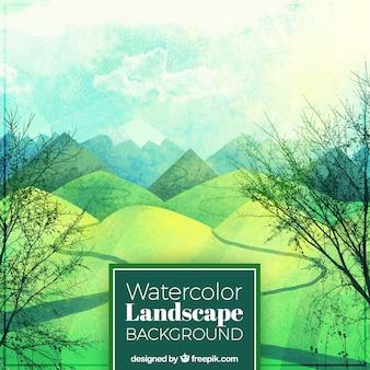 Background of watercolor landscape