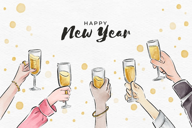 Background watercolor new year