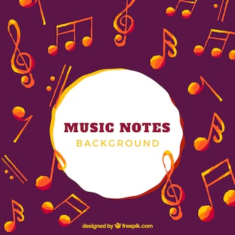 Background of watercolor orange musical notes