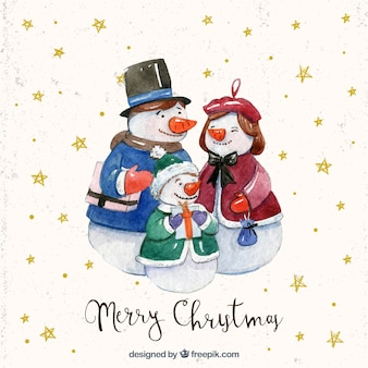 Background of watercolor snowmen family