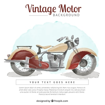 Background of watercolor vintage motorcycle