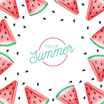 Background of watercolor watermelon. hello summer