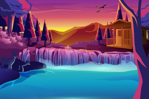 背景滝の森の家の夜の自然デザイン