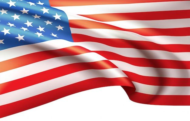アメリカの国旗を風になびかせて背景。
