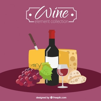 Background of wine with cheese and bread in flat design