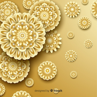 Background with 3d golden flowers, islamic design