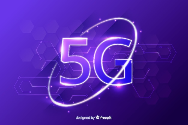 Background with 5g concept violet