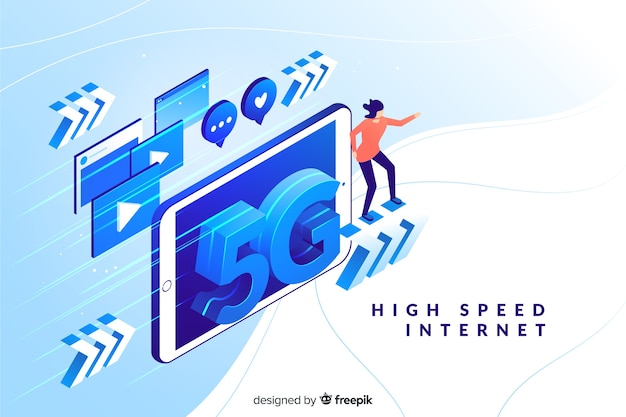 Background with 5g isometric technology