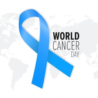 Background with a blue ribbon and map, world cancer day