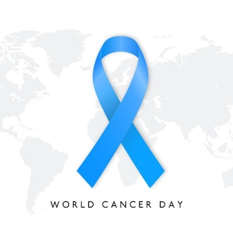Background with a blue ribbon, world cancer day