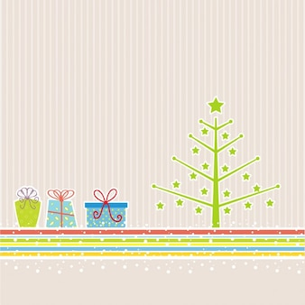 Background with a christmas tree and gifts
