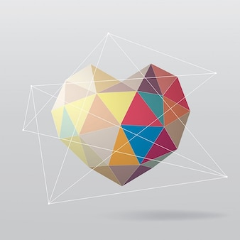 Background with a colorful polygonal heart