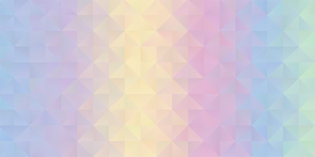パステルカラーの虹の低ポリデザインの背景