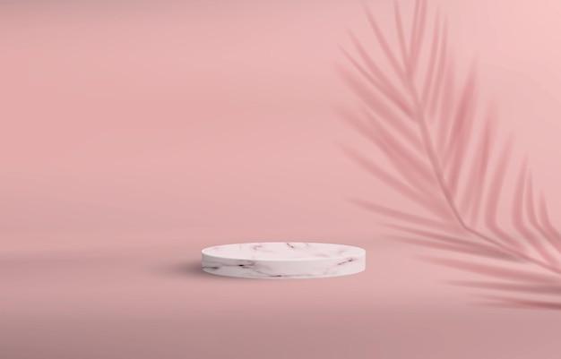 핑크 파스텔 색상의 최소한의 스타일로 받침대가있는 배경. 손바닥 그림자와 함께 제품 데모를위한 빈 돌 연단.