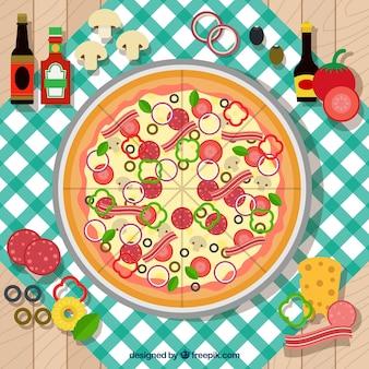 Фон с пиццей на скатерть