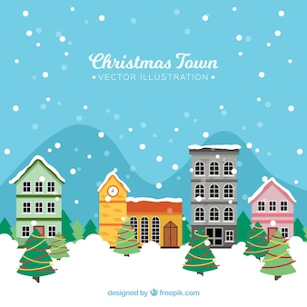 Background with a quiet christmas town