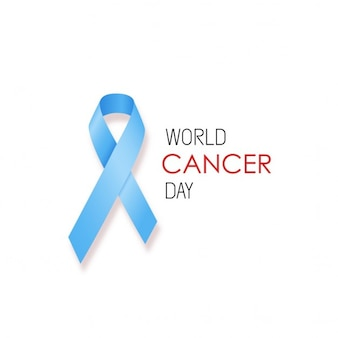 Background with a realistic blue ribbon, world cancer day