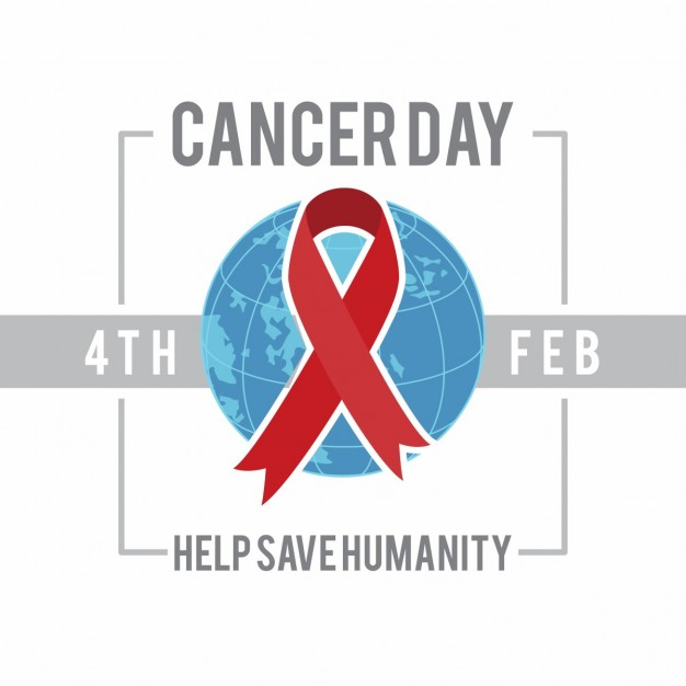 Background with a ribbon, world cancer day