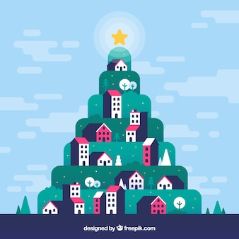 Background with a town shaped as a christmas tree