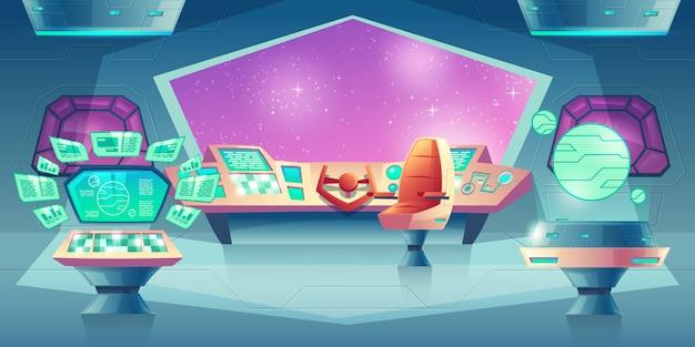 Фон с инопланетным космическим кораблем с рулем и иллюминатором.