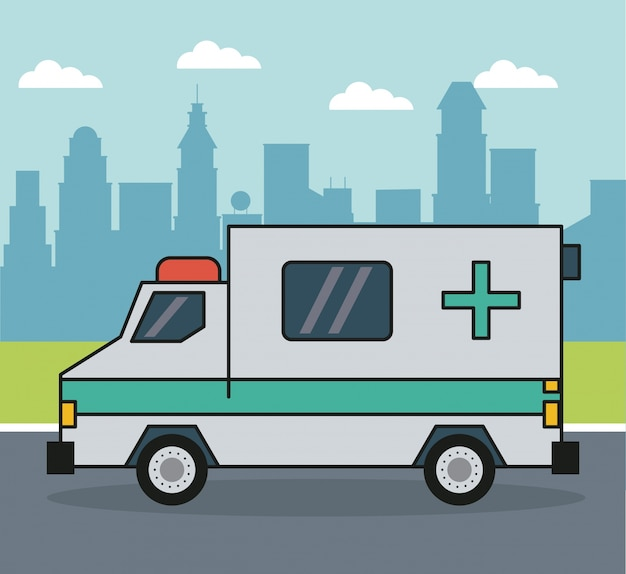 Background with ambulance on the outskirts of the city