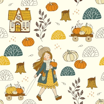 BACKGROUND WITH AUTUMN ELEMENTS AND GIRL
