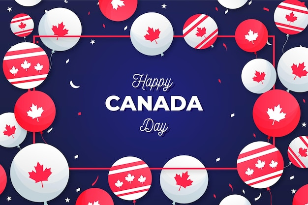 Background with balloons for canada day