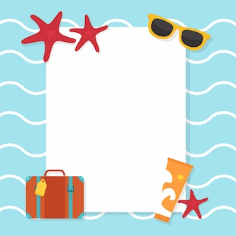 Background with beach and travel accessories
