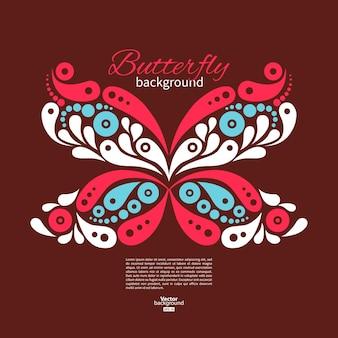美しい蝶の背景。タトゥーイラスト