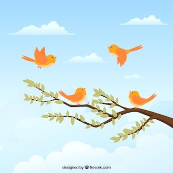 Фон с птицами и веткой