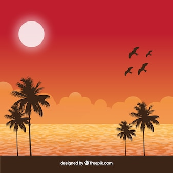Background with birds and summer landscape