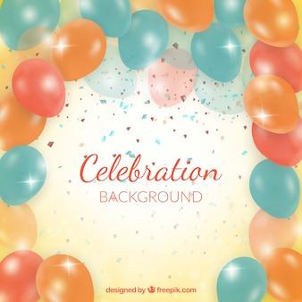 Фон с воздушными шарами день рождения