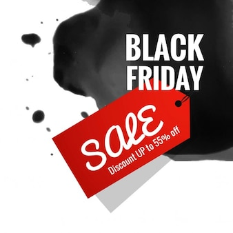 Background with black ink and a red label for black friday