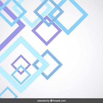 파란색과 보라색 개요 사각형으로 배경