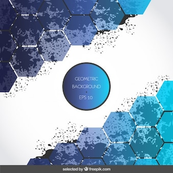 Background with blue hexagons and stains