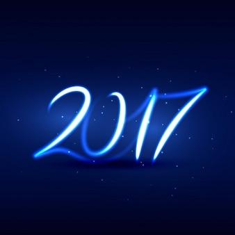 幸せな新年ネオンスタイルで書かれたアーティスティック2017のテキスト