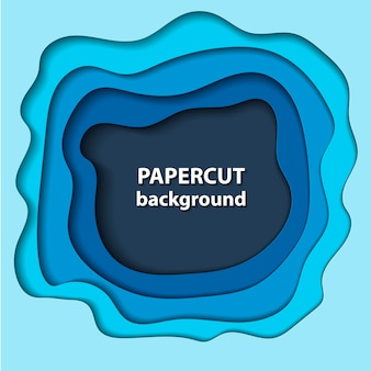 Background with blue paper cut shapes