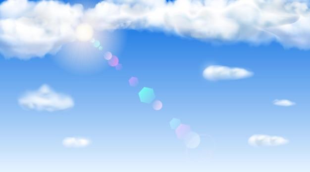 青い空、太陽、レンズフレア、雲の背景