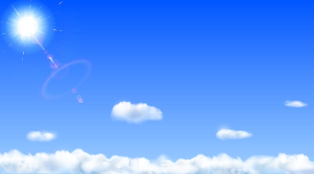 Background with blue sky, sun, lens flare and clouds