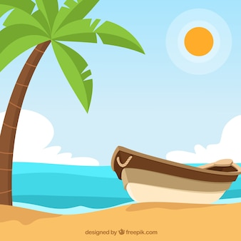 Background with boat next to a palm tree