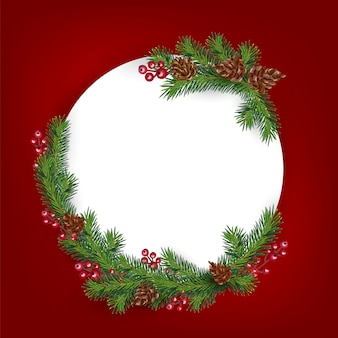Background with border of realistic looking christmas tree branches decorated