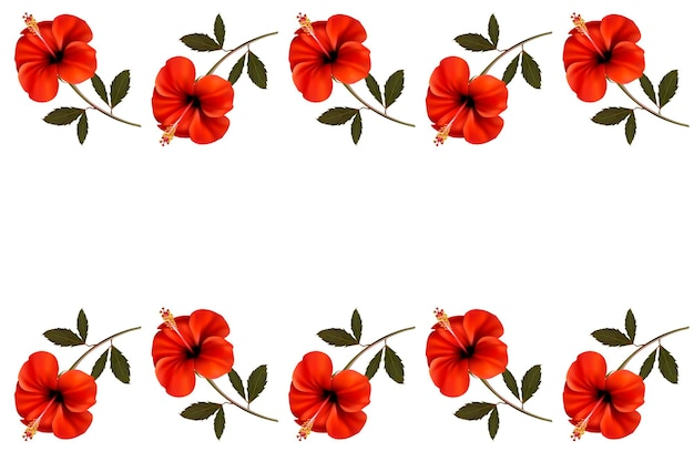 Background with a border of red flowers.