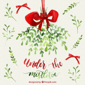 background with bows and watercolor mistletoe - Mistletoe Christmas