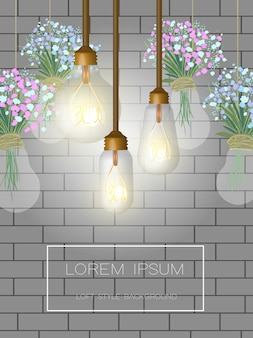 Background with brick wall and loft bulbs.
