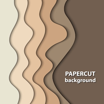 Background with brown and beige color paper cut shapes.