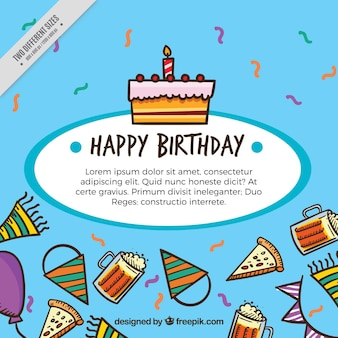 Background with cakes and birthday elements