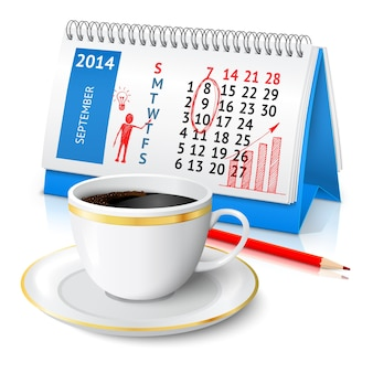 Background with calendar and cup of coffee