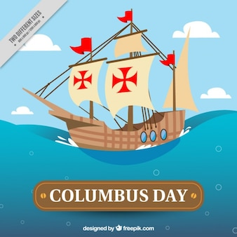 Background with a caravel for columbus day