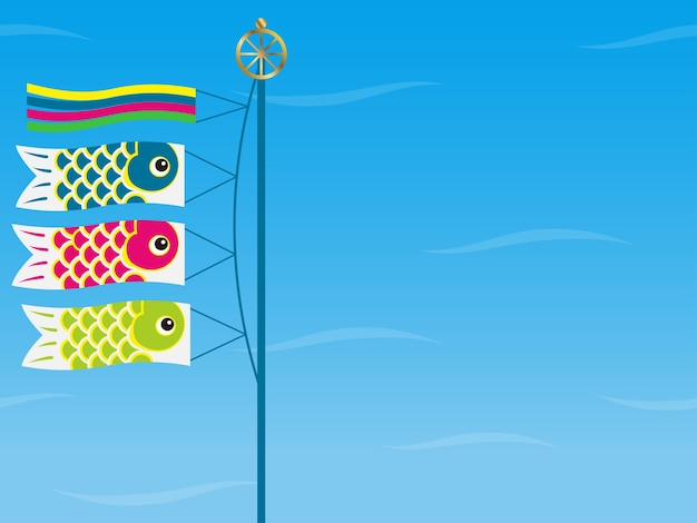 Background with carp streamers for the japanese boys festival